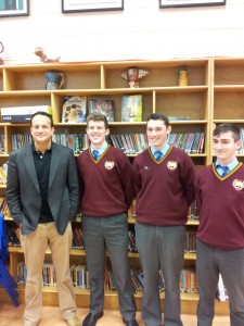 Minister Varadkar visits St. Declans College, Nephin Road, Dublin 7: with (l. to r.): Brian O'Sullivan, Kevin Campbell & Jack Gaffney.