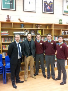 Minister Varadkar visits St Declans College, Nephin Road, Dublin 7, with (l. to r.): Principal Ciaran O'Hare, Brian O'Sullivan, Kevin Campbell & Jack Gaffney.