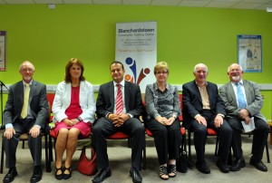 Minister Varadkar and Minister Joan Burton with staff at Blanchardstown CTC.