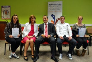 Minister Varadkar and Minister Burton with some of the learners at Blanchardstown CTC.