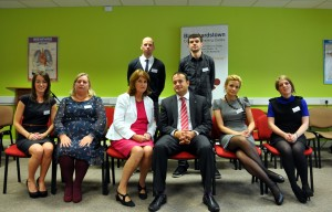 Minister Varadkar and Minister Joan Burton with some of the staff attending the awards ceremony at Blanchardstown Community Training Centre.