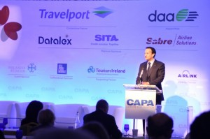 Minister Varadkar addressing the CAPA Airlines in Transition aviation conference the Powerscourt Hotel.