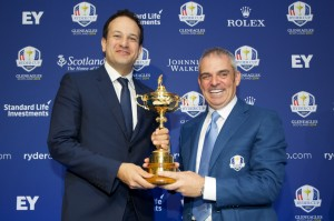 Minister Varadkar and Paul McGinley at the announcement of the European Vice Captains for the 2014 Ryder Cup in Government Buildings.