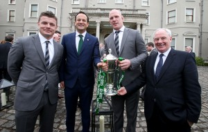 Brian O'Driscoll, Leo Varadkar, Paul O'Connell & Michael Ring at the reception for Ireland's Six Nations team at Farmleigh,