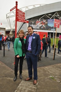 Minister Varadkar with Fine Gael European candidate Deirdre Clune in Thomond Park.