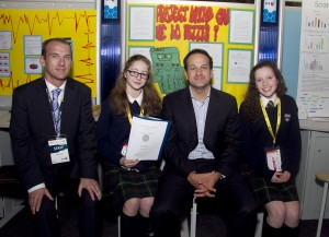 Minister for Transport, Tourism and Sport Leo Varadkar TD with Peter Evans, BT Ireland and Louise Watson and Orla Williams from The Kings Hospital, Palmerstown Dublin and their project 'Project maths, can we do better?