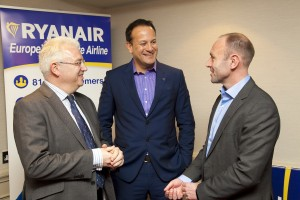 Minister Varadkar with Vincent Harrison, Dublin Airport, and Kenny Jacobs, Ryanair,