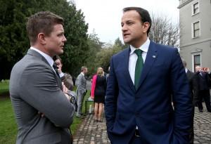 Brian O'Driscoll with Leo Varadkar 26/3/2014