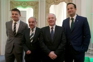 Brian O'Driscoll, Pat Fitzgerald, Michael Ring and Leo Varadkar 26/3/2014