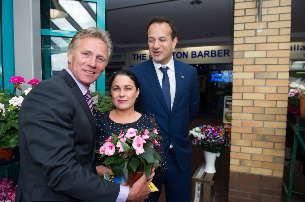 FG bye-election candidate Senator Eamonn Coghlan canvassing with Minister Varadkar in Blanchardstown.