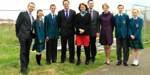 Minister Varadkar at the sod turning for the new sports hall at Castleknock Community College.