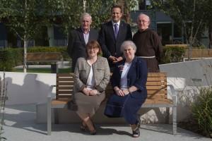 Minister Varadkar with (front l. to r.): Medical Director Regina McQuillan, Director of Nursing Sr Patricia Walsh; (back:) Fr Eugene Kennedy, Fr Dan Joe O'Mahony.