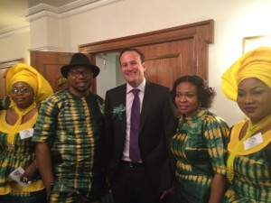 Minister Varadkar attending the Ogun Day 2014 at the Westmanstown Conference Centre: (l. to r.): Pamela Toyin Adeola Ogunsina, Minister Varadkar, Georgia Ogunsina, Dele Azeez.