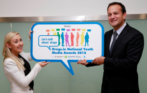 Minister for Health, Leo Varadkar and Nicki Killeen, the Ana Liffey Drug Project, Dublin launching the Drugs.ie Let's Talk about Drugs National Youth Media Awards 2015 in The Department of Health.