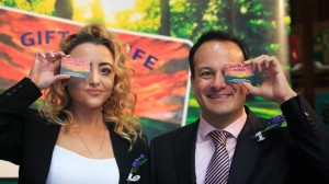 Minister Varadkar with Saoirse Perry from Cabra who had a liver transplant last year.