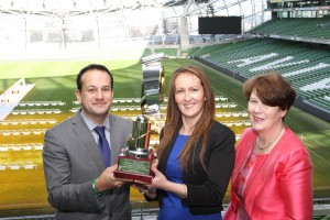 Left to Right: Minister for Health, Leo Varadkar TD, Joelene Minogue, Winner of the NHP Student of the Year from AIT and Clodagh Fitzgerald, Chairperson NHP.