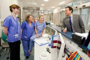 Minister Varadkar with Josie Dillon, Ciara Cahill and Clair Barry during a visit to University Hospital Limerick.