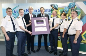 The National Ambulance Service has received international accreditation for its work. Minister Varadkar is seen here with the director Martin Dunne and colleagues.