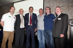 With local blood donors from Dublin 15: Graham Dunne, Michael Norton, Pat McLoughlin, Anthony Hoey, Albert Fahy.