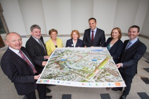 From left John Pollock, Project Director, NPHDB; Dr. Sean Walsh, Interim CEO, Our Lady's Children's Hospital Crumlin; Mona Baker, CEO, Temple Street Children's University Hospital; Minister of State for Primary Care, Mental Health and Disability, Kathleen Lynch TD; Minister for Health Leo Varadkar TD; Eílish Hardiman, CEO, Children's Hospital Group; David Slevin, CEO, Tallaght Hospital in Leinster house as the National Paediatric Hospital Development Board (NPHDB) today shared the latest designs for the new children's hospital with members of the Oireachtas and with residents in the local Dublin 8 community. These meetings build on the extensive engagement that has taken place in recent weeks with patient advocacy groups, existing children's hospital staff, families and the national Youth Advisory Committee.