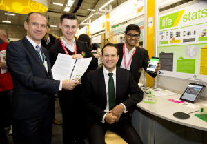 Minister for Social Protection Leo Varadkar TD with Stephen Harris and Akhil Voorakkara from Luttrellstown Community College Dublin and their project 'LifeStats' .