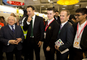 President Michael D Higgins, Minister for Social Protection Leo Varadkar TD and Peter Evans, BT with Stephen Harris and Akhil Voorakkara from Luttrellstown Community College Dublin and their project 'LifeStats'