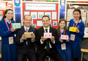 Minister for Social Protection Leo Varadkar TD and Peter Evans, BT with Kate Sullivan, Eimear Dalton and Tiffany Qiu from Mount Sackville Secondary School Dublin and their project 'An Investigation into the Comparison of Virtual Reality Learning Versus Conventional Learning Among School Going Pupils'.