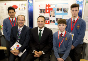 Minister for Social Protection Leo Varadkar TD and Peter Evans, BT with Darwin O'Sullivan, Adam Mulhall and Conor Hoey from Colaiste Popail Setanta, Dublin and their project 'Analysing Micro Expressions'.